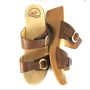 Dansko Sophie Wedges Brown Sandals Clogs Size 42